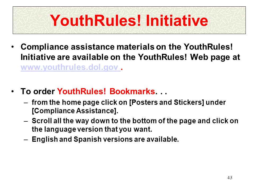 43 YouthRules.Initiative Compliance assistance materials on the YouthRules.
