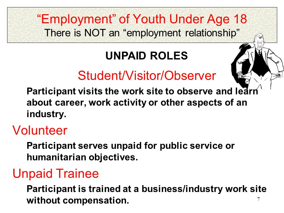 6 Employment of Youth Under Age 18 An employment relationship exists PAID ROLES Student Learner Participant enrolled in a cooperative training program under a recognized state/local educational authority or private school, e.g., COOP.