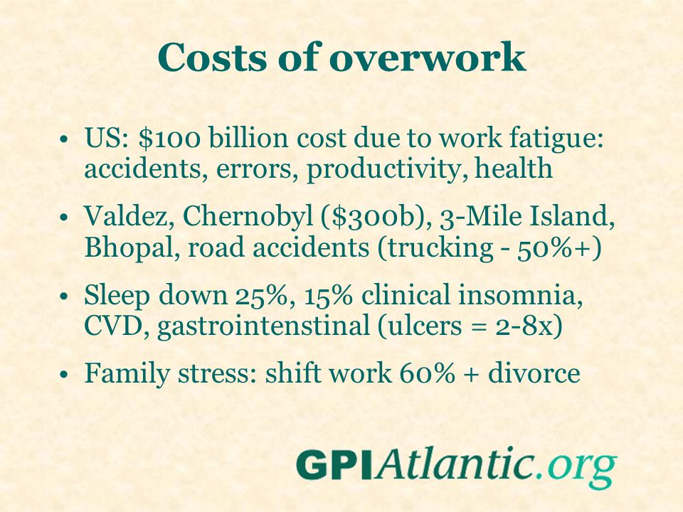 Costs of overwork US: $100 billion cost due to work fatigue: accidents, errors, productivity, health Valdez, Chernobyl ($300b), 3-Mile Island, Bhopal,