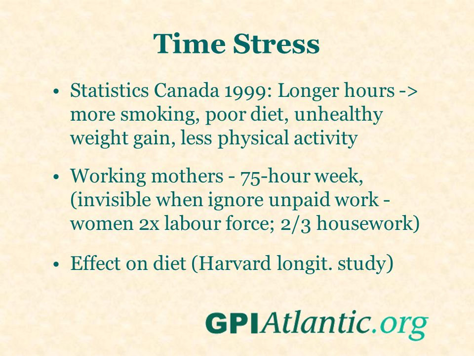 Time Stress Statistics Canada 1999: Longer hours -> more smoking, poor diet, unhealthy weight gain, less physical activity Working mothers - 75-hour w