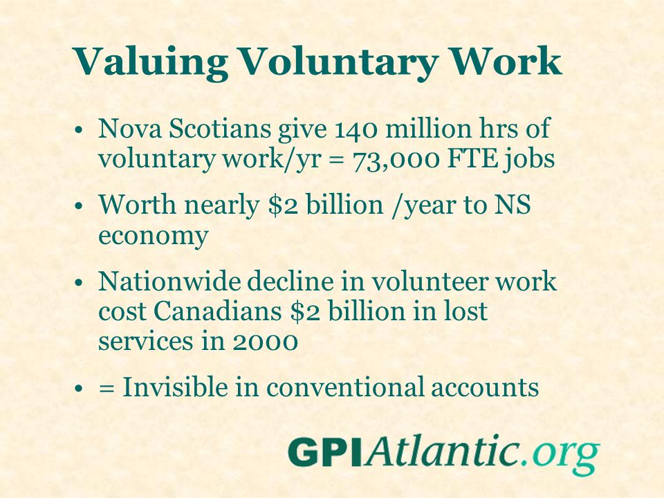 Valuing Voluntary Work Nova Scotians give 140 million hrs of voluntary work/yr = 73,000 FTE jobs Worth nearly $2 billion /year to NS economy Nationwid