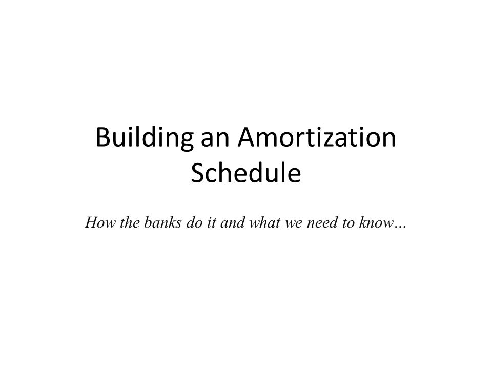 Building an Amortization Schedule How the banks do it and what we need to know…