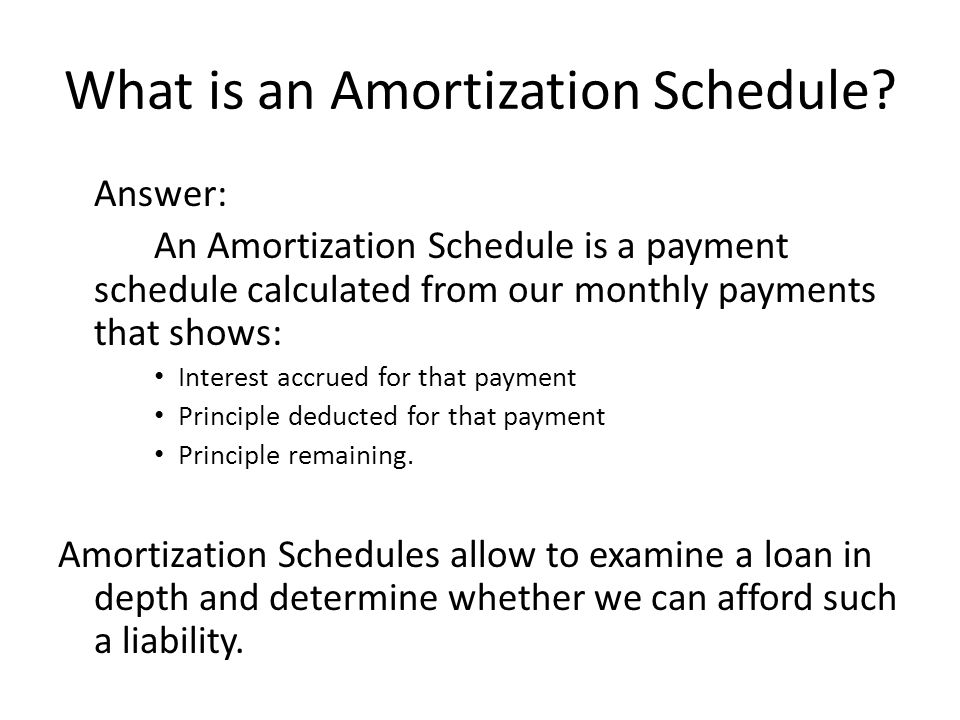 What is an Amortization Schedule? Answer: An Amortization Schedule is a payment schedule calculated from our monthly payments that shows: Interest acc