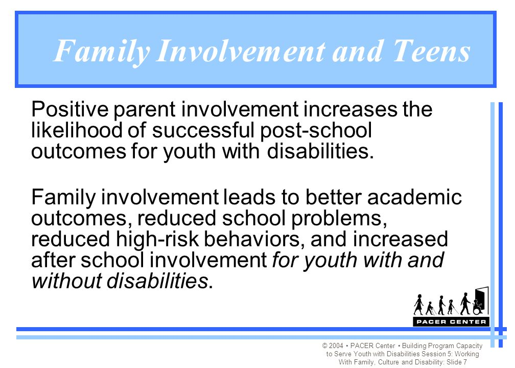 © 2004 PACER Center Building Program Capacity to Serve Youth with Disabilities Session 5: Working With Family, Culture and Disability: Slide 7 Family Involvement and Teens Positive parent involvement increases the likelihood of successful post-school outcomes for youth with disabilities.