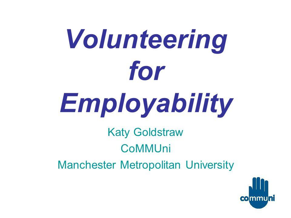 Volunteering for Employability Katy Goldstraw CoMMUni Manchester Metropolitan University