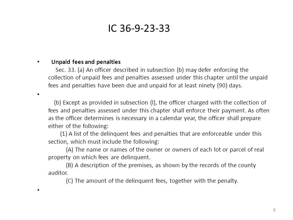IC 36-9-23-33 Unpaid fees and penalties Sec. 33.