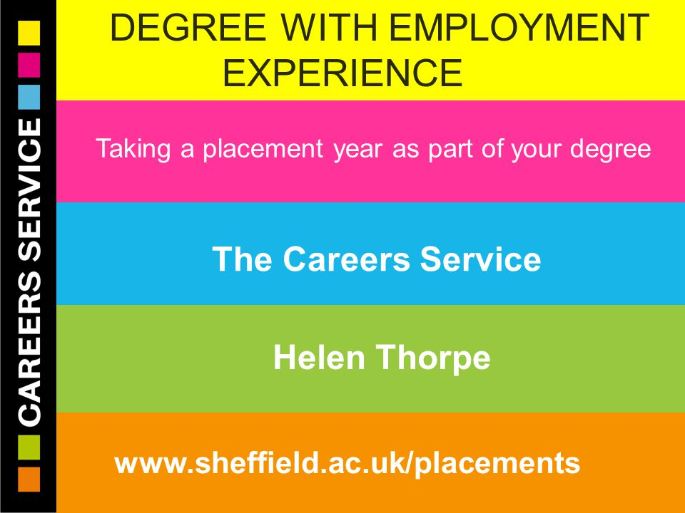 28/04/2015© The University of Sheffield Careers Service www.sheffield.ac.uk/careers DEGREE WITH EMPLOYMENT EXPERIENCE W Taking a placement year as part of your degree The Careers Service Helen Thorpe www.sheffield.ac.uk/placements