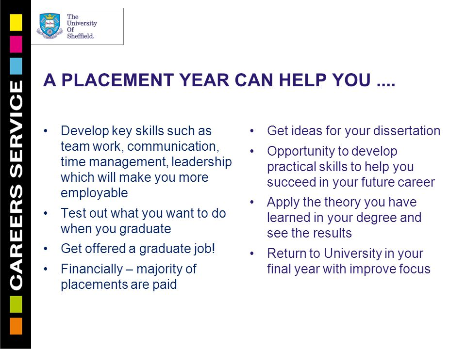 A PLACEMENT YEAR CAN HELP YOU....