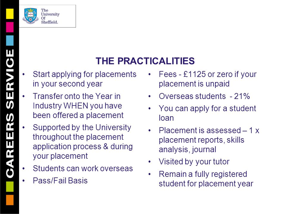 THE PRACTICALITIES Start applying for placements in your second year Transfer onto the Year in Industry WHEN you have been offered a placement Supported by the University throughout the placement application process & during your placement Students can work overseas Pass/Fail Basis Fees - £1125 or zero if your placement is unpaid Overseas students - 21% You can apply for a student loan Placement is assessed – 1 x placement reports, skills analysis, journal Visited by your tutor Remain a fully registered student for placement year