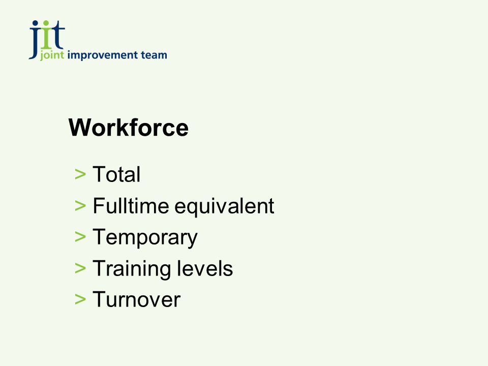 Workforce >Total >Fulltime equivalent >Temporary >Training levels >Turnover