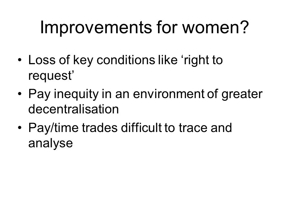 Improvements for women.