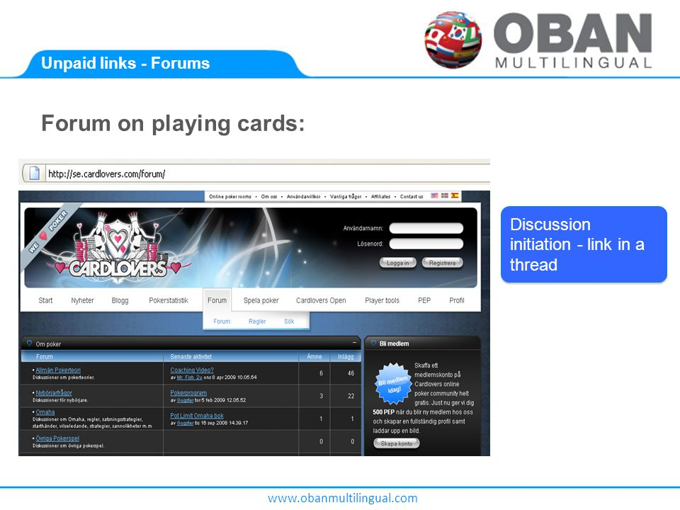 www.obanmultilingual.com Unpaid links - Forums Forum on playing cards: Discussion initiation - link in a thread