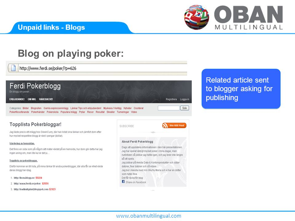 www.obanmultilingual.com Unpaid links - Blogs Blog on playing poker: Related article sent to blogger asking for publishing