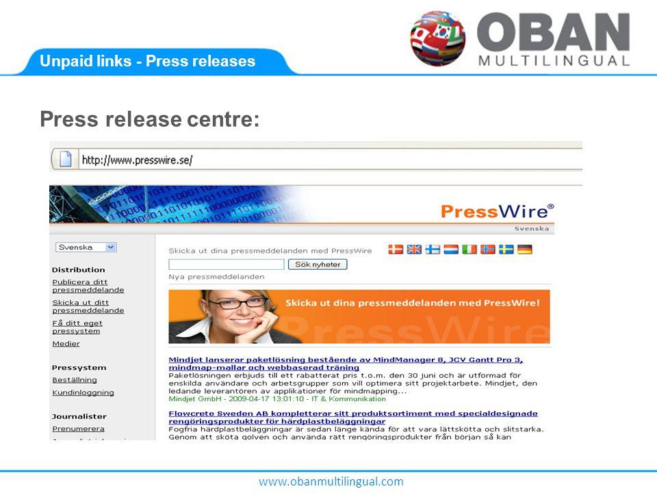 www.obanmultilingual.com Unpaid links - Press releases Press release centre:
