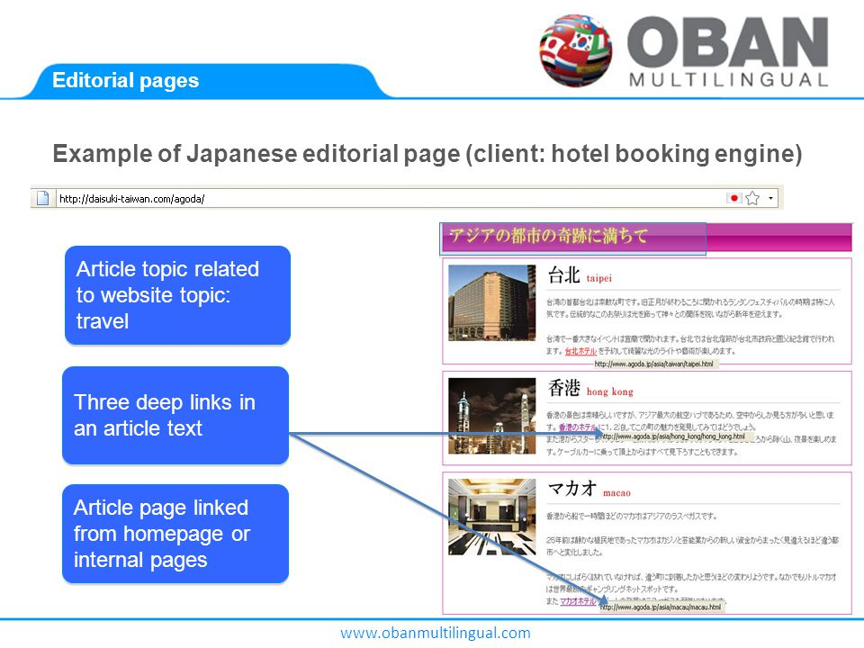 www.obanmultilingual.com Editorial pages Example of Japanese editorial page (client: hotel booking engine).