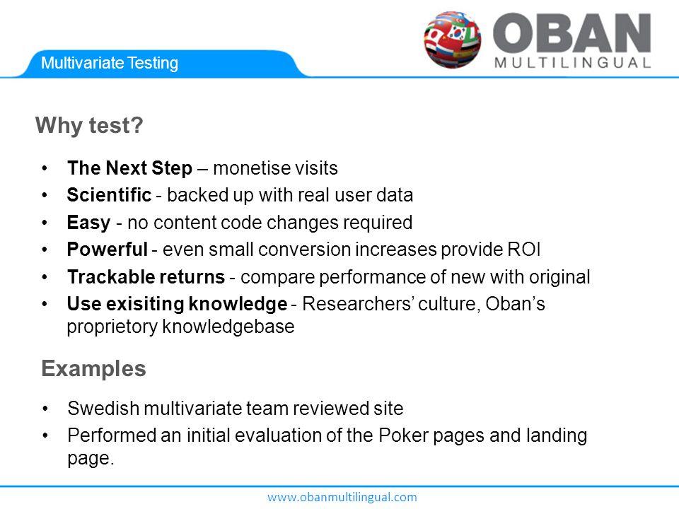 www.obanmultilingual.com Multivariate Testing Why test.