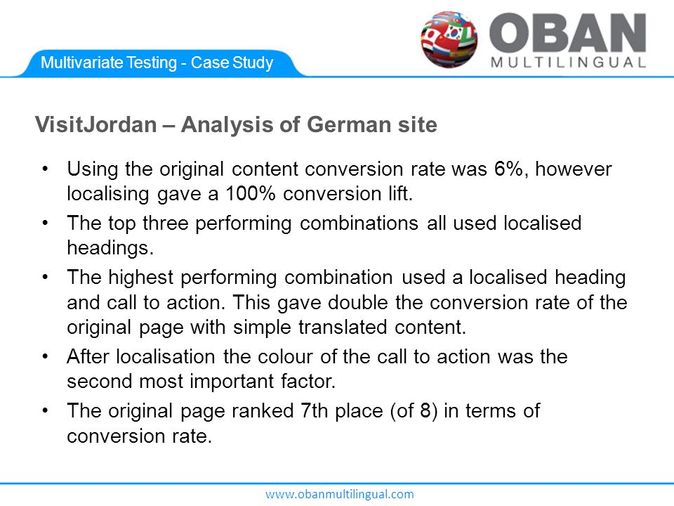 www.obanmultilingual.com Multivariate Testing - Case Study VisitJordan – Analysis of German site Using the original content conversion rate was 6%, however localising gave a 100% conversion lift.