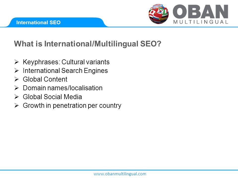 www.obanmultilingual.com What is International/Multilingual SEO.