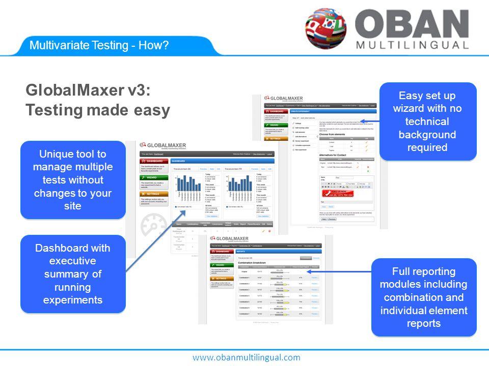 www.obanmultilingual.com Multivariate Testing - How.