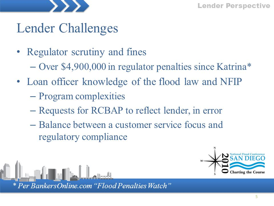 """* Per BankersOnline.com """"Flood Penalties Watch"""" Lender Challenges Regulator scrutiny and fines – Over $4,900,000 in regulator penalties since Katrina*"""