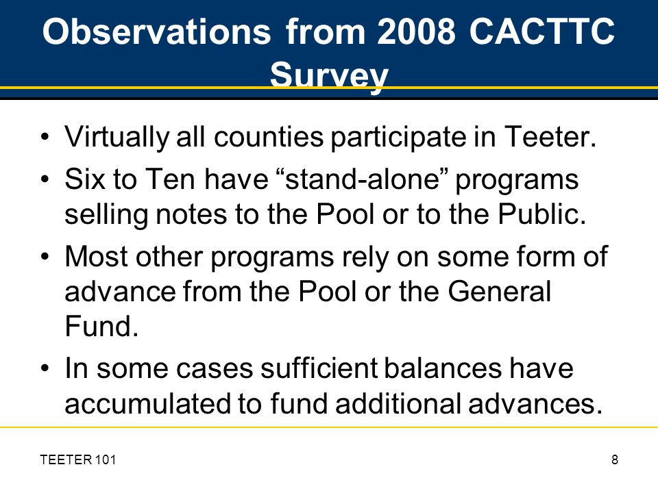 TEETER 1019 Observations (cont.) For larger programs an externally funded stand- alone program is the most cost effective.