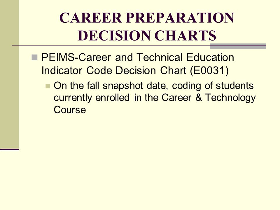 CAREER PREPARATION DECISION CHARTS PEIMS-Career and Technical Education Indicator Code Decision Chart (E0031) On the fall snapshot date, coding of stu