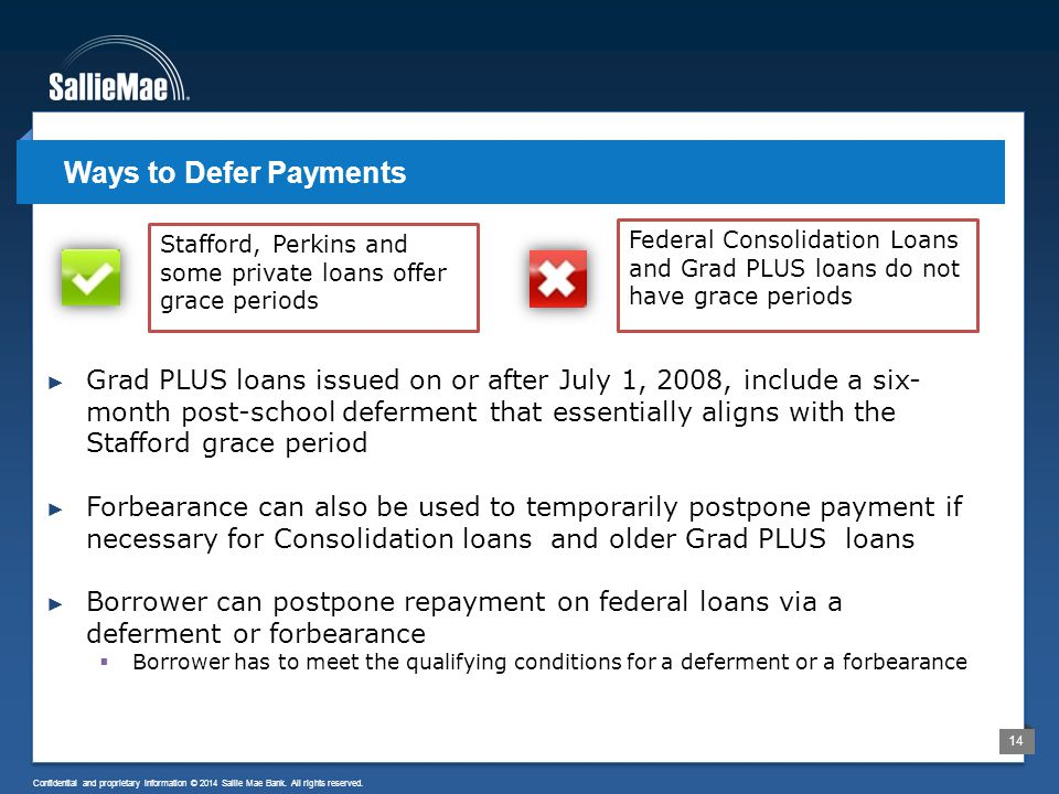 14 Confidential and proprietary information © 2014 Sallie Mae Bank. All rights reserved. ► Grad PLUS loans issued on or after July 1, 2008, include a