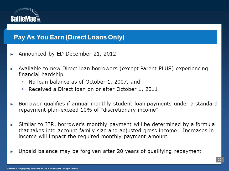 20 Confidential and proprietary information © 2014 Sallie Mae Bank. All rights reserved. ► Announced by ED December 21, 2012 ► Available to new Direct