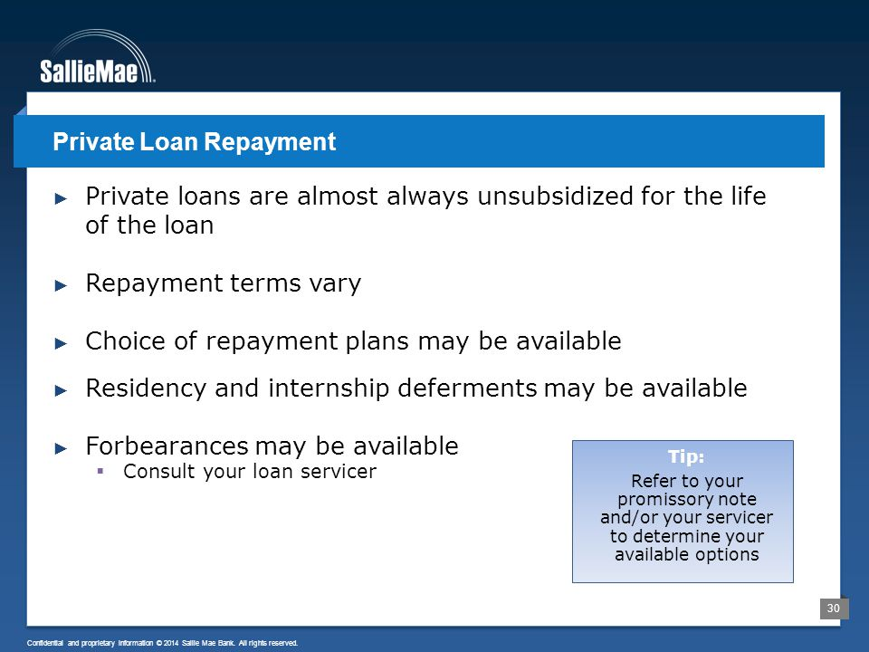 30 Confidential and proprietary information © 2014 Sallie Mae Bank. All rights reserved. ► Private loans are almost always unsubsidized for the life o