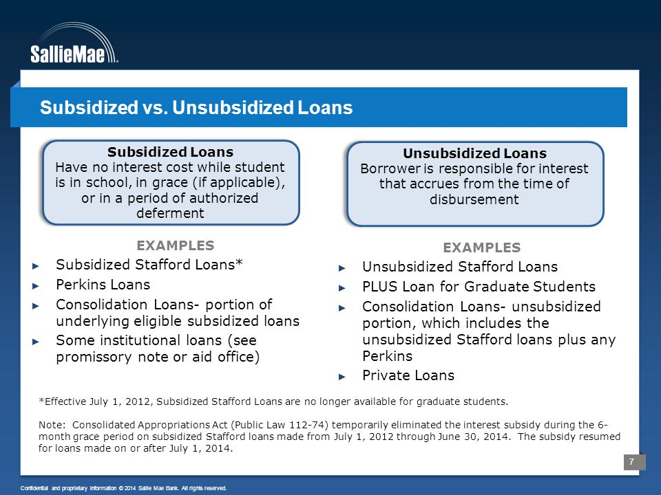 7 Confidential and proprietary information © 2014 Sallie Mae Bank. All rights reserved. Subsidized vs. Unsubsidized Loans EXAMPLES ► Unsubsidized Staf
