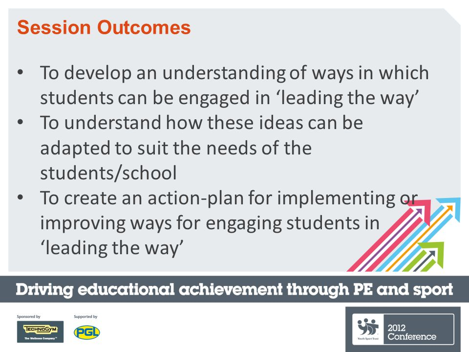 Session Outcomes To develop an understanding of ways in which students can be engaged in 'leading the way' To understand how these ideas can be adapted to suit the needs of the students/school To create an action-plan for implementing or improving ways for engaging students in 'leading the way'