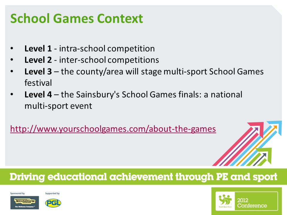 School Games Context Level 1 - intra-school competition Level 2 - inter-school competitions Level 3 – the county/area will stage multi-sport School Games festival Level 4 – the Sainsbury s School Games finals: a national multi-sport event http://www.yourschoolgames.com/about-the-games