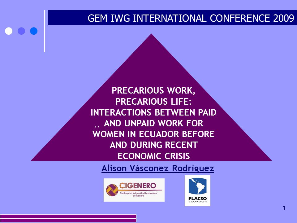 1 GEM IWG INTERNATIONAL CONFERENCE 2009 `` PRECARIOUS WORK, PRECARIOUS LIFE: INTERACTIONS BETWEEN PAID AND UNPAID WORK FOR WOMEN IN ECUADOR BEFORE AND