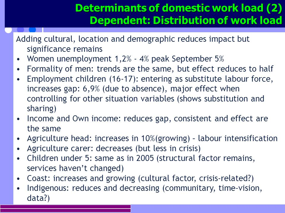 12 Determinants of domestic work load (2) Dependent: Distribution of work load Adding cultural, location and demographic reduces impact but significance remains Women unemployment 1,2% - 4% peak September 5% Formality of men: trends are the same, but effect reduces to half Employment children (16-17): entering as substitute labour force, increases gap: 6,9% (due to absence), major effect when controlling for other situation variables (shows substitution and sharing) Income and Own income: reduces gap, consistent and effect are the same Agriculture head: increases in 10%(growing) – labour intensification Agriculture carer: decreases (but less in crisis) Children under 5: same as in 2005 (structural factor remains, services haven't changed) Coast: increases and growing (cultural factor, crisis-related ) Indigenous: reduces and decreasing (communitary, time-vision, data )