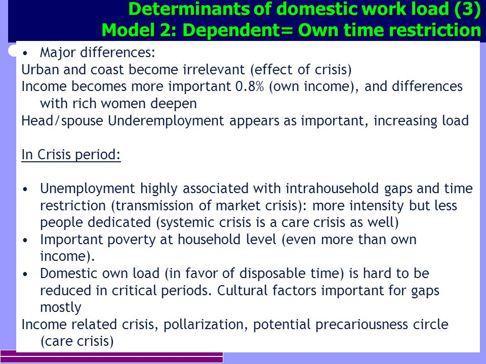16 Determinants of domestic work load (3) Model 2: Dependent= Own time restriction Major differences: Urban and coast become irrelevant (effect of cri