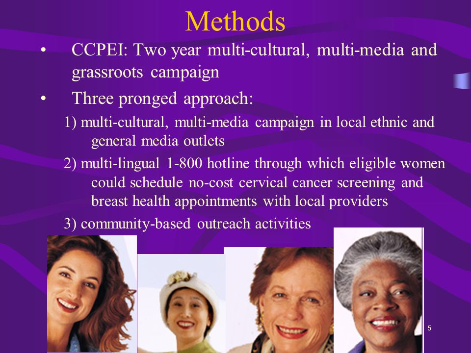 5 Methods CCPEI: Two year multi-cultural, multi-media and grassroots campaign Three pronged approach: 1) multi-cultural, multi-media campaign in local ethnic and general media outlets 2) multi-lingual 1-800 hotline through which eligible women could schedule no-cost cervical cancer screening and breast health appointments with local providers 3) community-based outreach activities