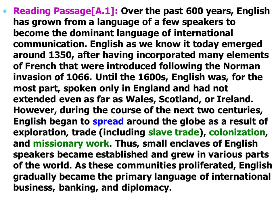 Reading Passage[A.1]: Over the past 600 years, English has grown from a language of a few speakers to become the dominant language of international communication.
