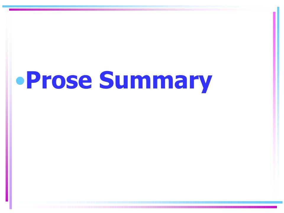 Prose Summary