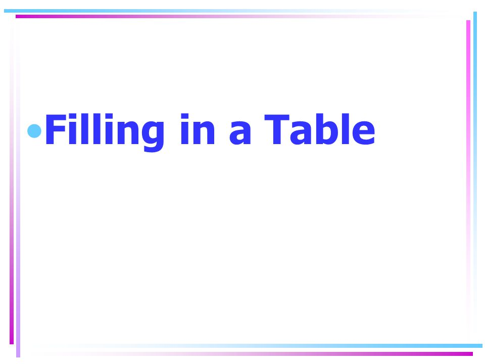 Filling in a Table