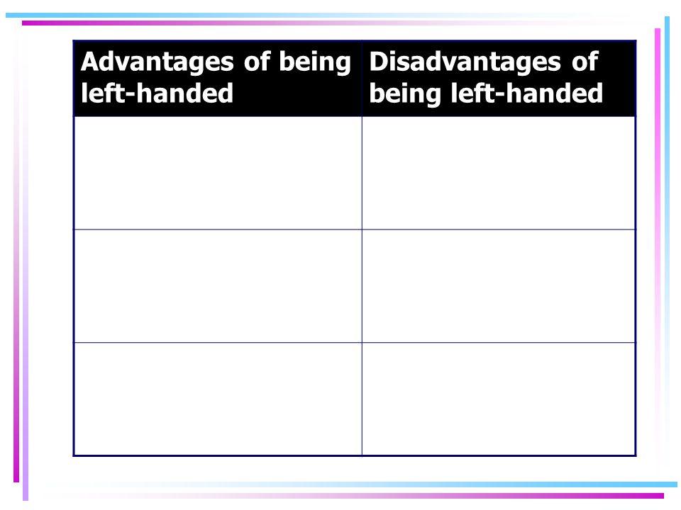 Advantages of being left-handed Disadvantages of being left-handed
