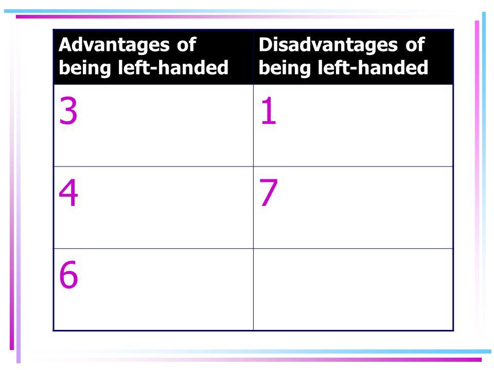 Advantages of being left-handed Disadvantages of being left-handed 31 47 6
