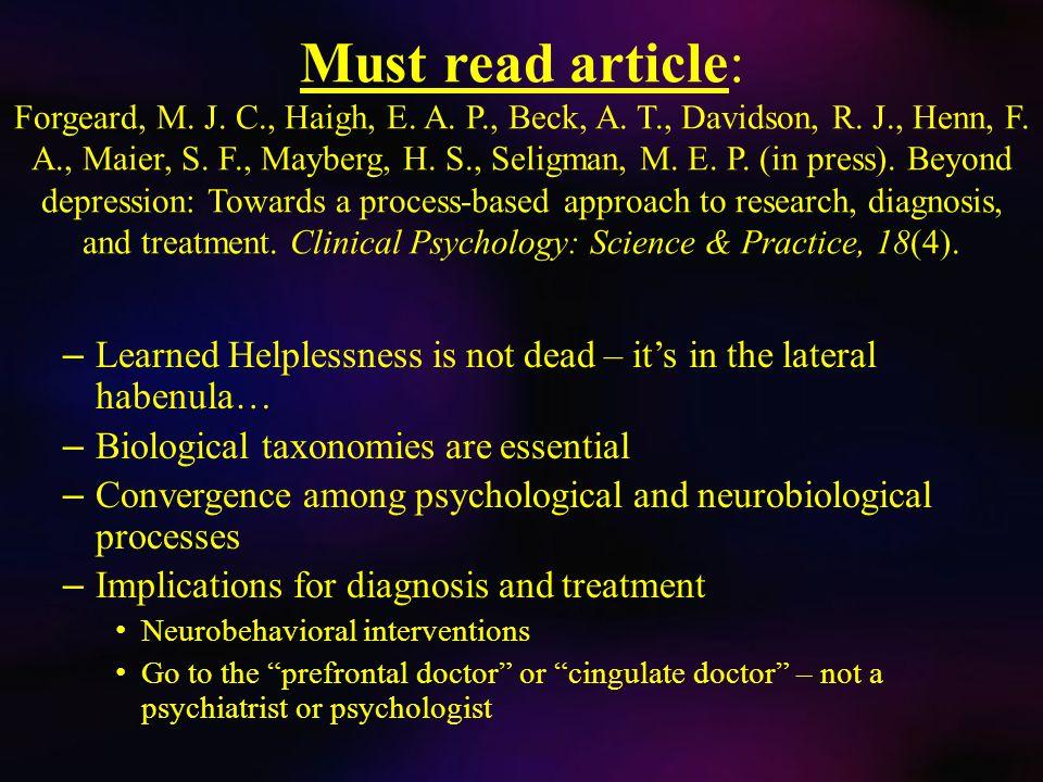 Must read article: Forgeard, M. J. C., Haigh, E.