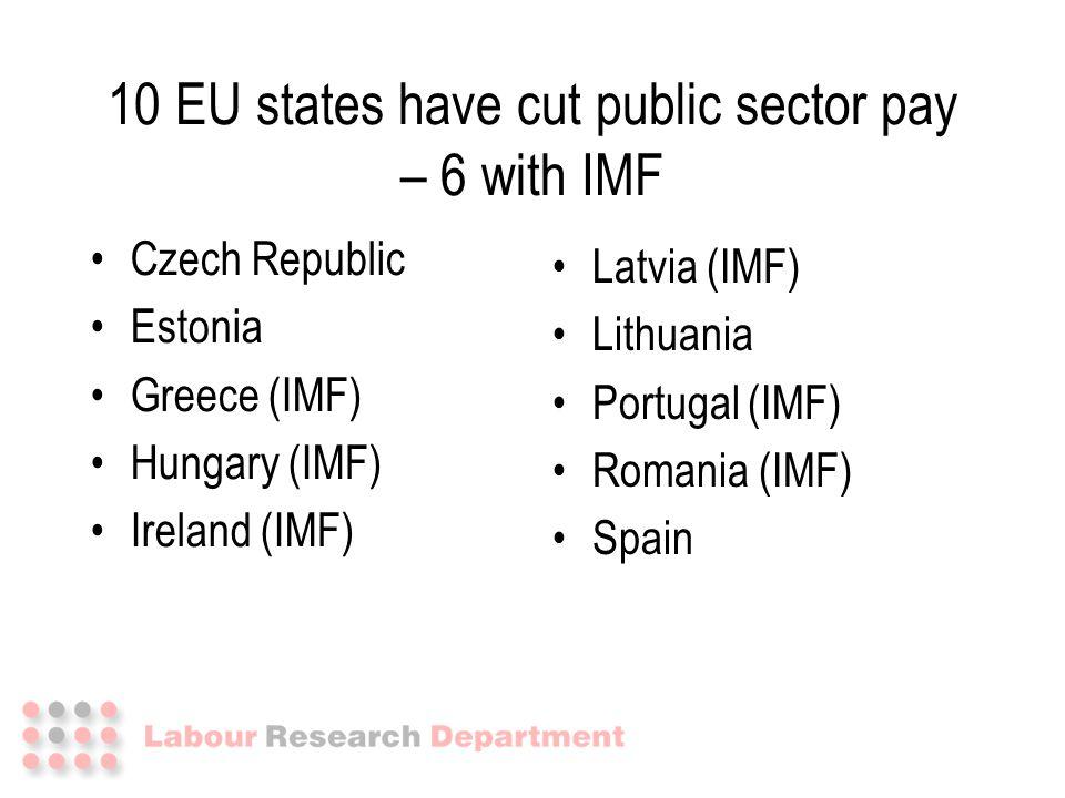 10 EU states have cut public sector pay – 6 with IMF Czech Republic Estonia Greece (IMF) Hungary (IMF) Ireland (IMF) Latvia (IMF) Lithuania Portugal (IMF) Romania (IMF) Spain