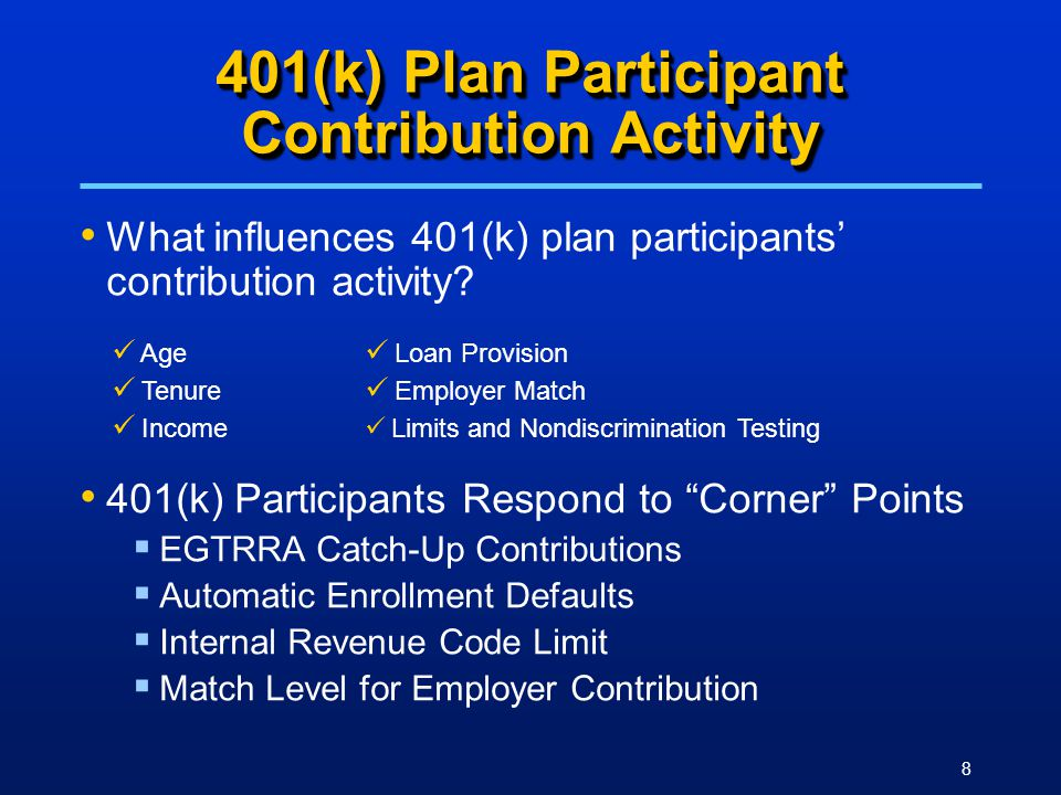 8 401(k) Plan Participant Contribution Activity What influences 401(k) plan participants' contribution activity.