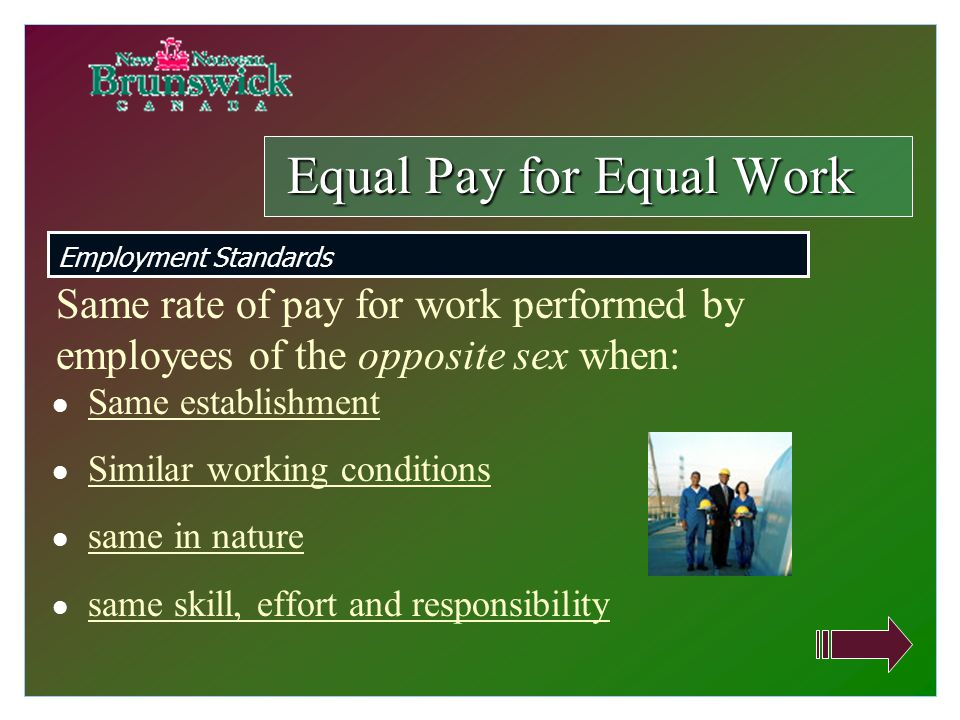 Same establishment Similar working conditions same in nature same skill, effort and responsibility Equal Pay for Equal Work Employment Standards Same rate of pay for work performed by employees of the opposite sex when: