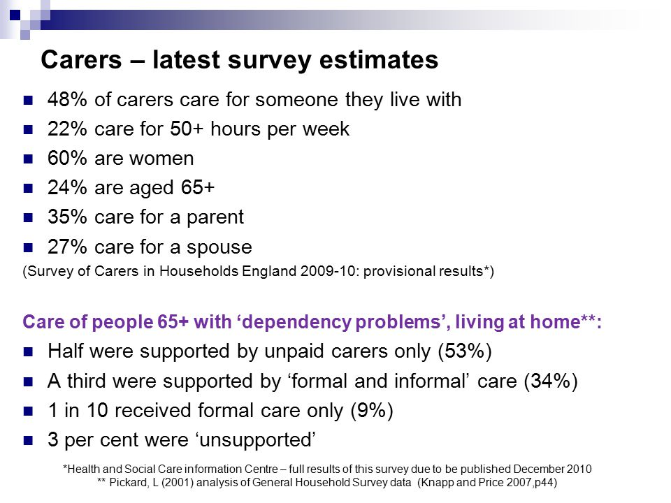Carers – latest survey estimates *Health and Social Care information Centre – full results of this survey due to be published December 2010 ** Pickard, L (2001) analysis of General Household Survey data (Knapp and Price 2007,p44) 48% of carers care for someone they live with 22% care for 50+ hours per week 60% are women 24% are aged 65+ 35% care for a parent 27% care for a spouse (Survey of Carers in Households England 2009-10: provisional results*) Care of people 65+ with 'dependency problems', living at home**: Half were supported by unpaid carers only (53%) A third were supported by 'formal and informal' care (34%) 1 in 10 received formal care only (9%) 3 per cent were 'unsupported'