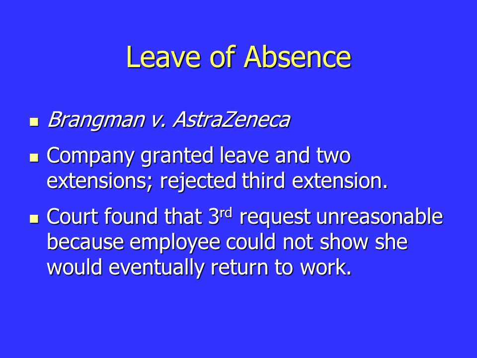 Leave of Absence Brangman v. AstraZeneca Brangman v.