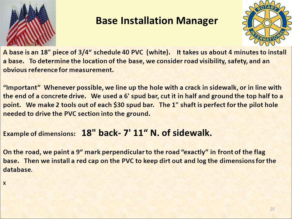 Base Installation Manager A base is an 18