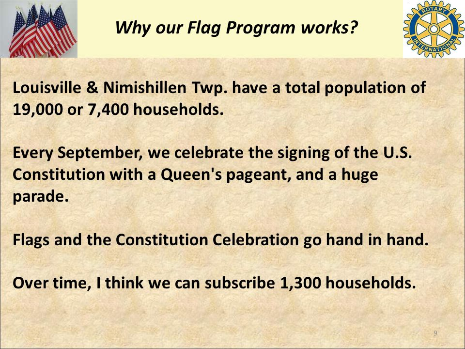 Why our Flag Program works? Louisville & Nimishillen Twp. have a total population of 19,000 or 7,400 households. Every September, we celebrate the sig