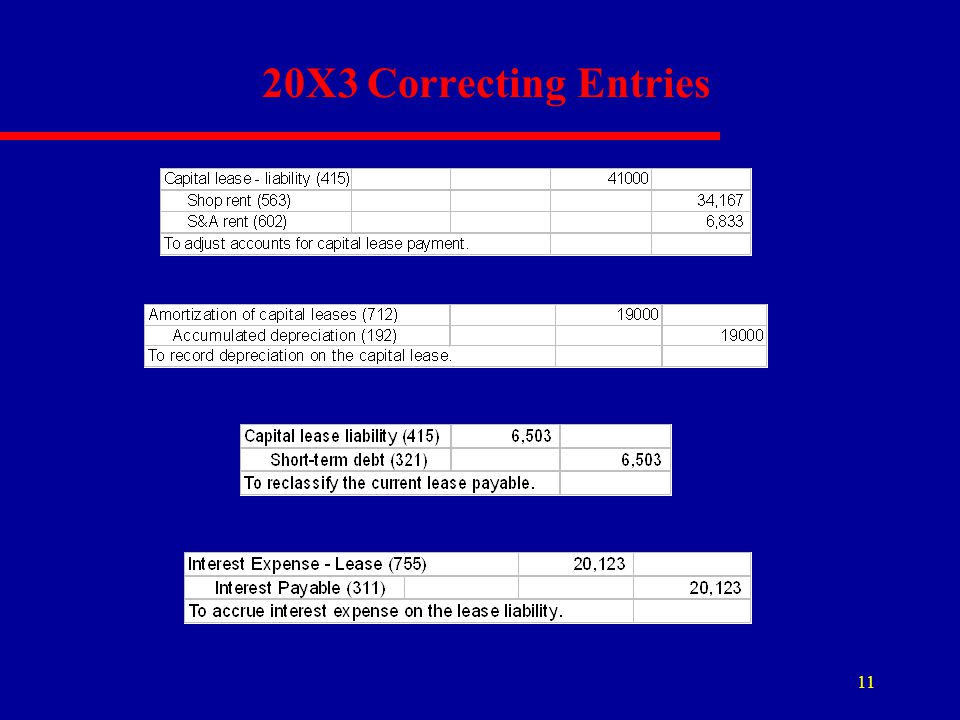 11 20X3 Correcting Entries